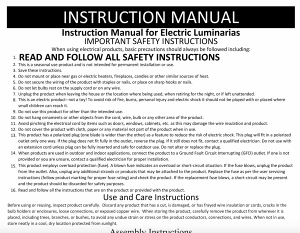 Luminarias Safety Installation Instructions and Directions