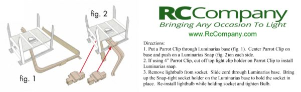 Snaps Directions from RC Company. Use with RC Company's Luminarias and Parrot Clips.